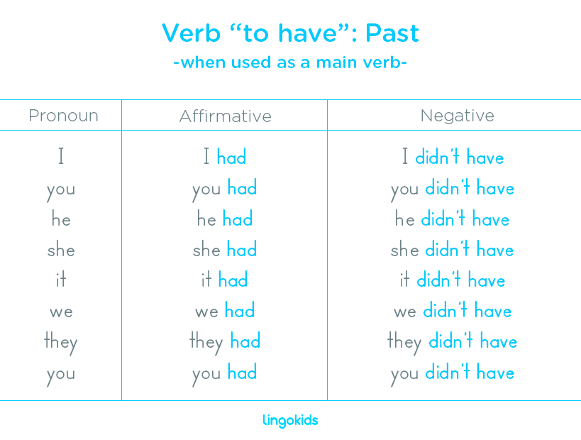 Verb to have as a main verb in past