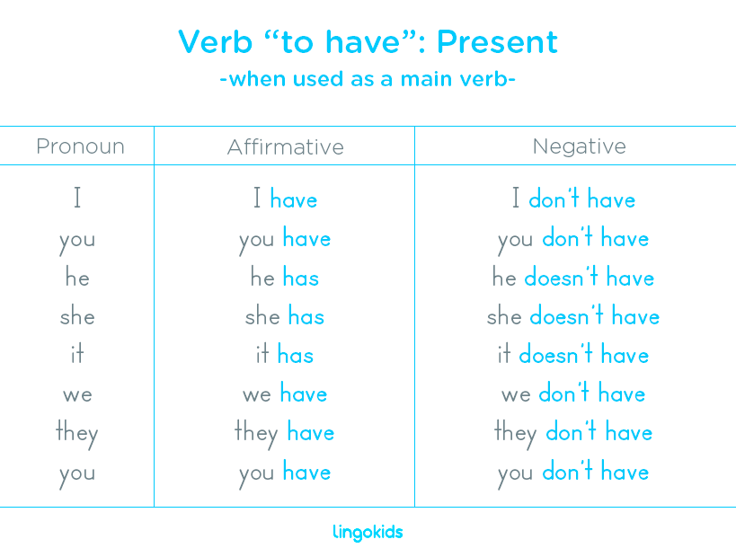 Verb to have as a main verb in present
