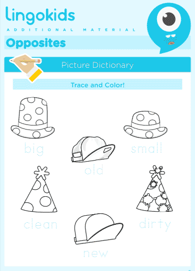 Opposites exercises about hats