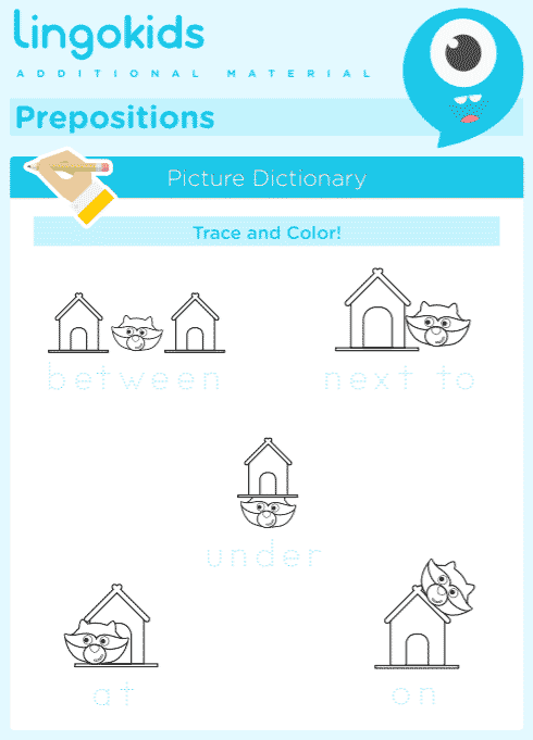 Prepositions: under – next to – between – after