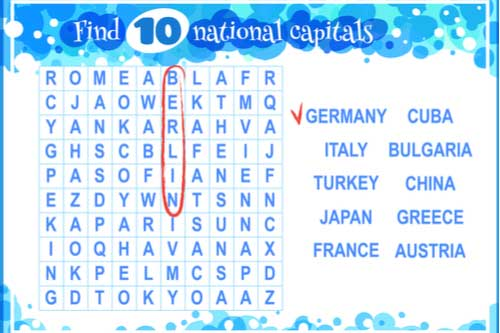 Word search about countries
