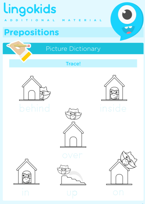 Prepositions worksheets: behind in inside on over up