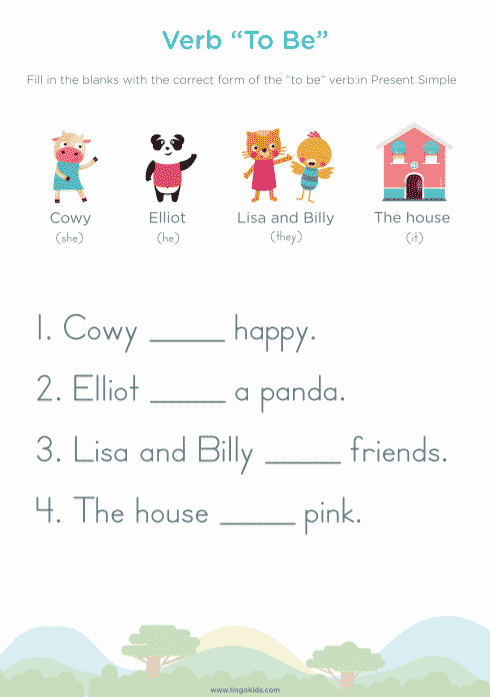 Printable worksheets about the verb to be 3