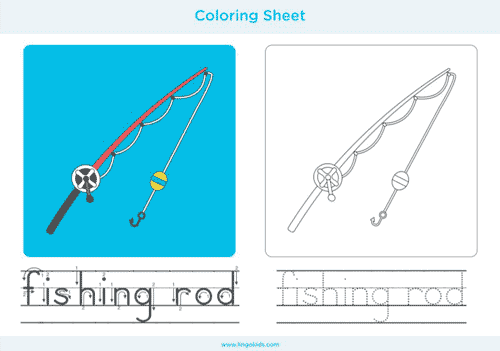Fishing rod - Camping Coloring Pages