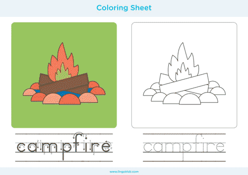 Campfire - Camping Coloring Pages
