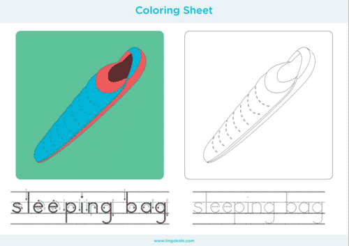 Sleeping bag - Camping Coloring Pages