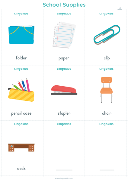 Flashcards: School Supplies 2